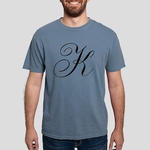 K Initial Black and Whit Mens Comfort Colors Shirt