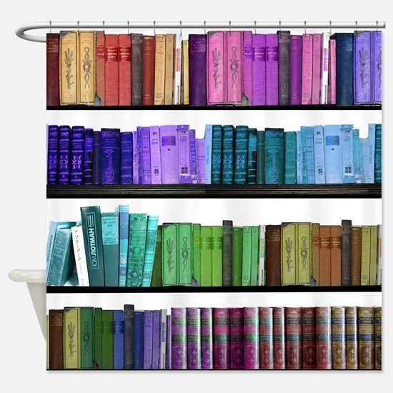 Colorful bookshelves Shower Curtain