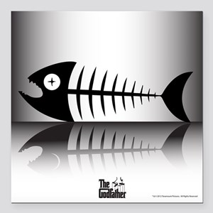 "Sleeping Fish Square Car Magnet 3"" x 3"""