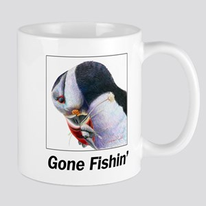 Gone Fishin - Puffin with fish Mugs