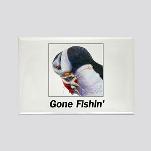 Puffin with Fish Gone Fishin Rectangle Magnet