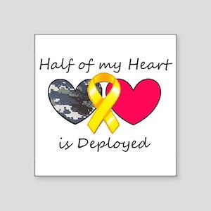 """Half of my Heart Blue Camo Square Sticker 3"""" x 3"""""""