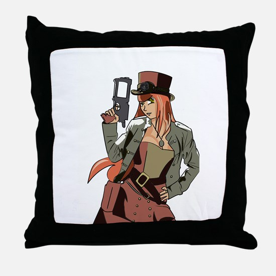 Steampunk Anime Girl Throw Pillow