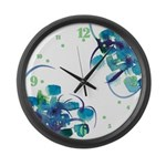 Atom Sea #9 Large Wall Clock with hours