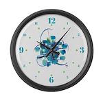 Atom Sea #9 Large Wall Clock with hours II
