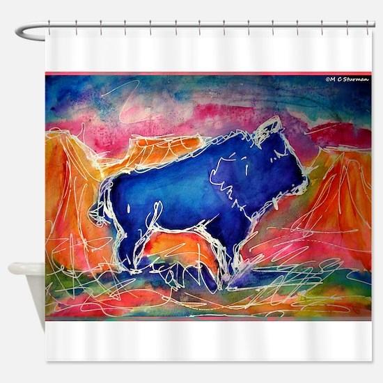 Buffalo, colorful, art! Shower Curtain