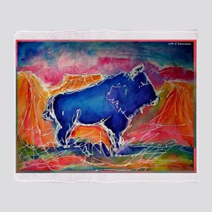 Buffalo, colorful, art! Throw Blanket