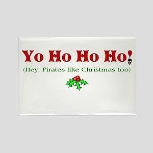Yo Ho Ho Ho Pirate Christmas Rectangle Magnet (10