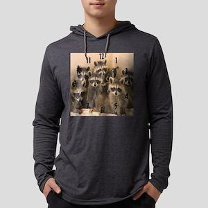 Raccoon wall clock Mens Hooded Shirt