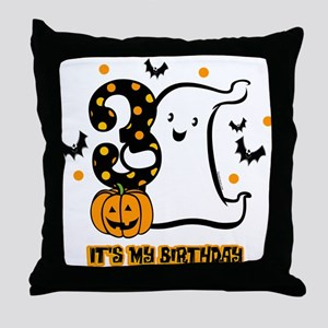 Little Ghost 3rd Birthday Throw Pillow