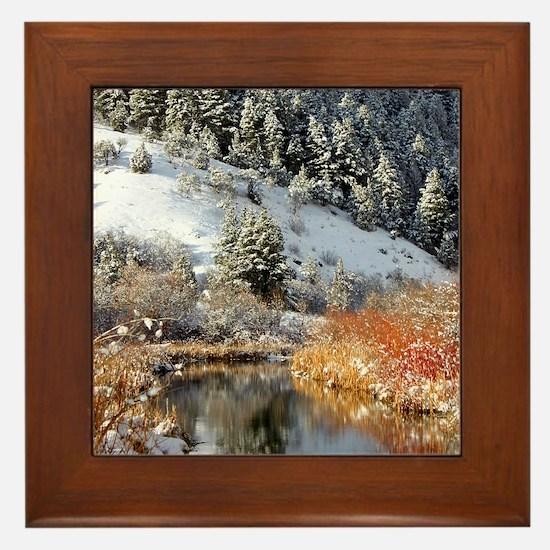 Winter river Framed Tile