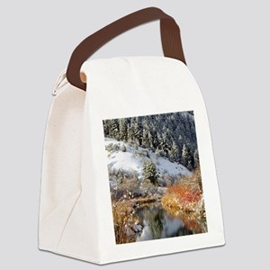 Winter river Canvas Lunch Bag