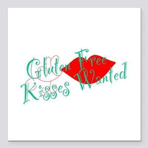 "Gluten Free Kisses Square Car Magnet 3"" x 3"""