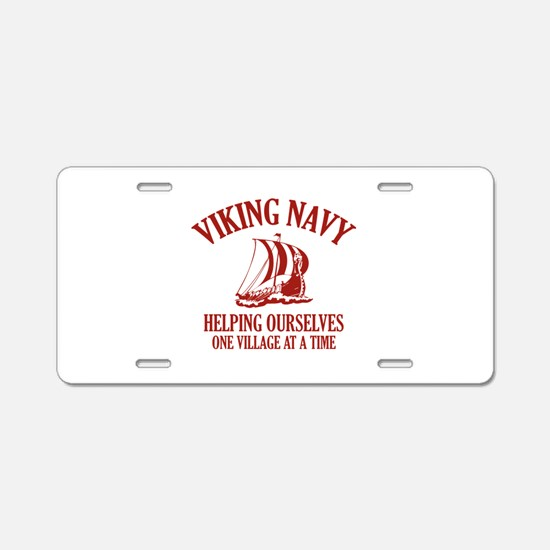 Viking Navy Aluminum License Plate