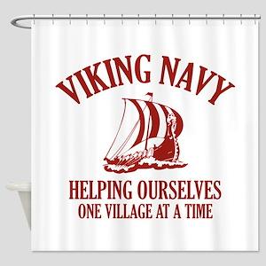 Viking Navy Shower Curtain