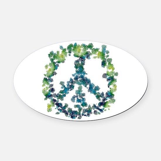 Meditation Flower Peace Oval Car Magnet