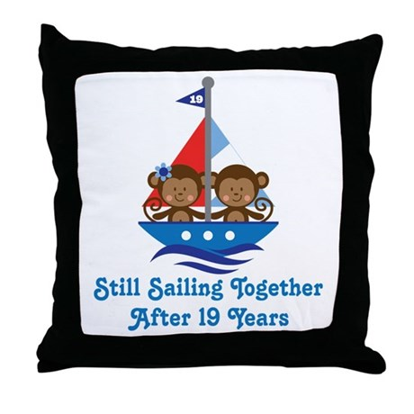 19th Anniversary Sailing Throw Pillow