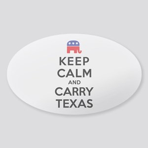 Keep Calm and Carry Texas Republican Sticker (Oval