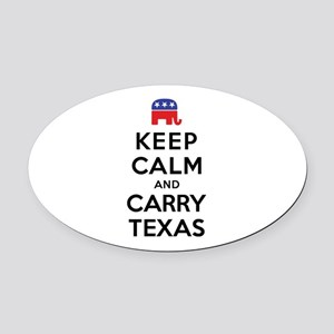 Keep Calm and Carry Texas Republican Oval Car Magn