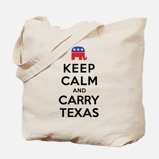 Keep Calm and Carry Texas Republican Tote Bag