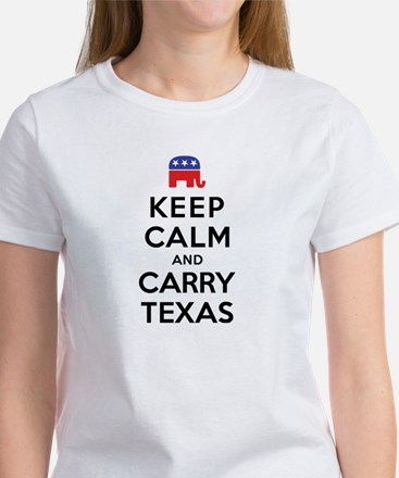 Keep Calm and Carry Texas Republican Women's T-Shi