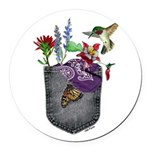 Pocket Wildflowers Round Car Magnet