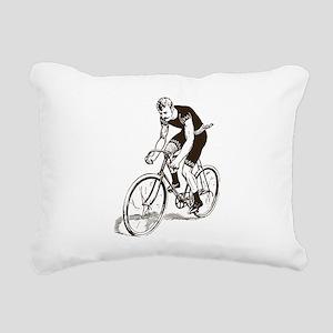 Retro Cyclist Rectangular Canvas Pillow