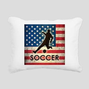 Grunge USA Soccer Rectangular Canvas Pillow