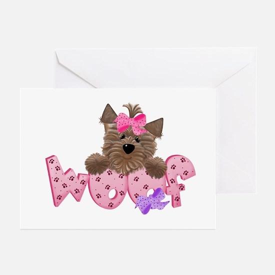 Yorkiegirl Woof Greeting Cards (Pk of 10)