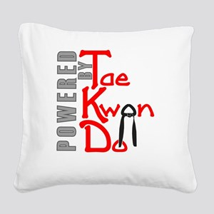 Powered by Tae Kwon Do Square Canvas Pillow