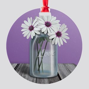 White and Purple Daisy Mason Jar Purple Round Orna