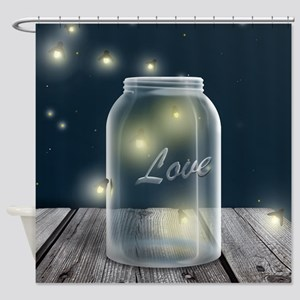 Midnight Fireflies Mason Jar Shower Curtain