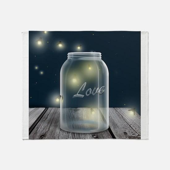 Midnight Fireflies Mason Jar Throw Blanket