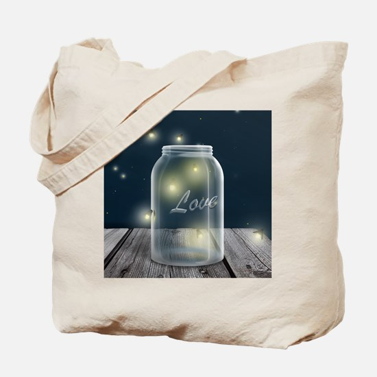Midnight Fireflies Mason Jar Tote Bag