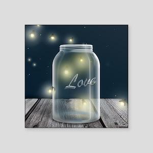 """Midnight Fireflies Mason Jar Square Sticker 3"""" x 3"""