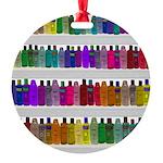 Soap Bottle Rainbow Round Ornament