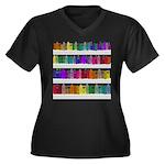 Soap Bottle Rainbow Women's Plus Size V-Neck Dark