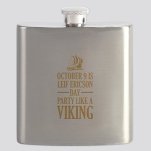 Leif Ericson Day - Party Like A Viking Flask