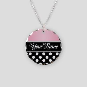 Black Polka Dot Pink Necklace Circle Charm