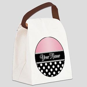 Black Polka Dot Pink Canvas Lunch Bag
