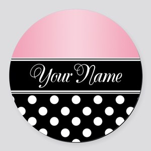 Black Polka Dot Pink Round Car Magnet