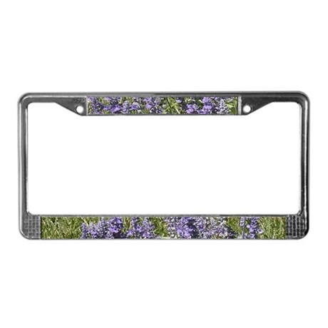 Purple Flowers License Plate Frame