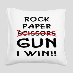 wht_rock_paper_gun_I_Win Square Canvas Pillow