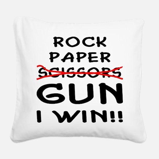 wht_rock_paper_gun_I_Win.png Square Canvas Pillow