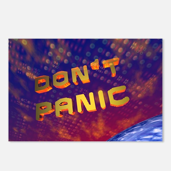 3D Don't Panic Hitchhikers Space Postcards (8/pkg)
