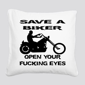 wht_save_biker_fucking_eyes Square Canvas Pill