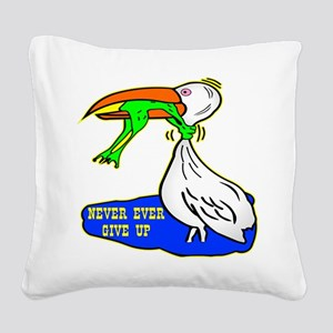 wht_Frog_Choking_Bird Square Canvas Pillow
