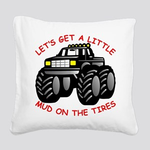 wht_4x4_Mud_Tires_003 Square Canvas Pillow