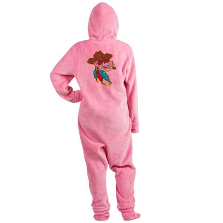 wht_Cowboy_Skull_Feathers Footed Pajamas