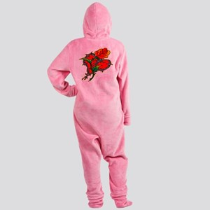 wht_Barb_wire_heart_rose Footed Pajamas